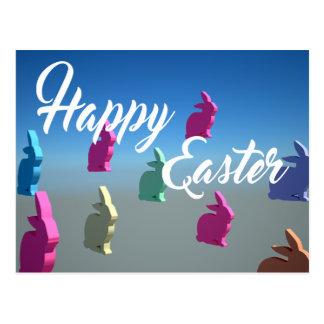 för glad påskanbud för kaniner 3D färger för Vykort