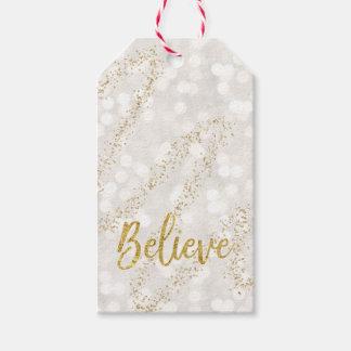 För glitterBokeh för tro Faux guld- märkre gåva Presentetikett