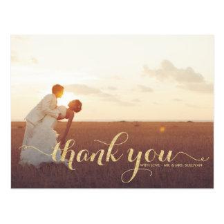 För glitterbröllop för Faux guld- vykort för tack