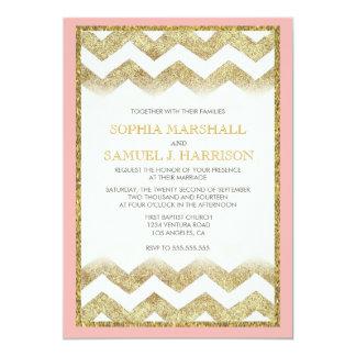 För glitterbröllop för sparre guld- inbjudan