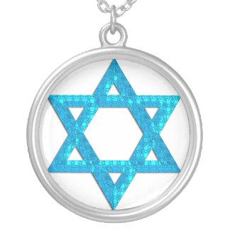 För glitterdavidsstjärna för blått 3 design för halsband med rund hängsmycke