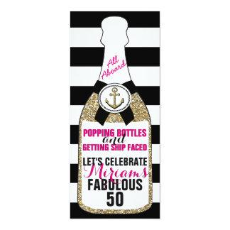 För glitterfödelsedag för champagne Fab nautisk 10,2 X 23,5 Cm Inbjudningskort