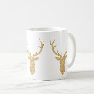 För glitterjul för Faux guld- hjort Kaffemugg