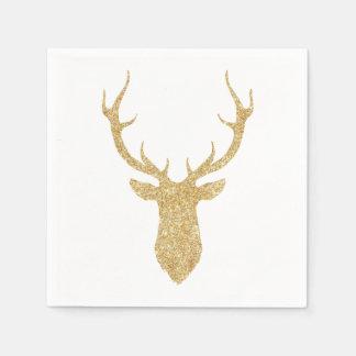 För glitterjul för Faux guld- hjort Papper Servetter