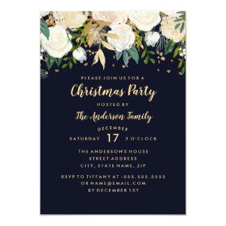 För glitterjul för marin guld- blom- kort för 12,7 x 17,8 cm inbjudningskort