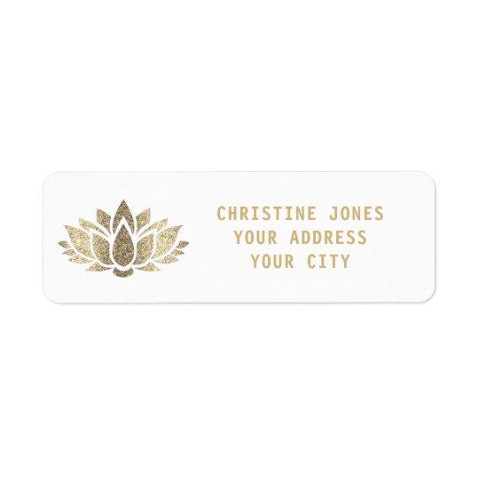 för glitterlotusblomma för faux guld- blomma returadress etikett