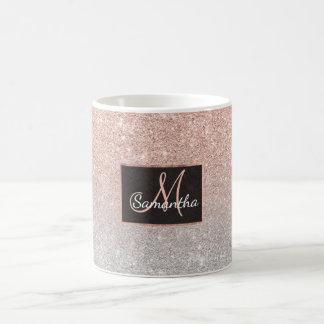 För glitterombre för trendig rosa guld- glitter kaffemugg