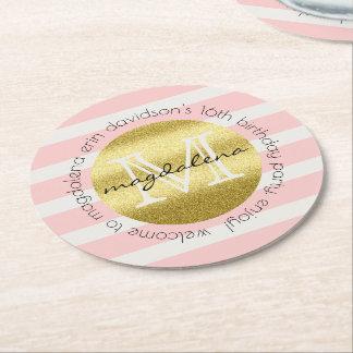 För glitterrodnad för moderiktig Monogram guld- Underlägg Papper Rund