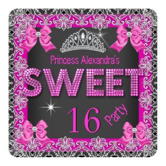 För glittershock rosa för Princess Sötsak 16 Fyrkantigt 13,3 Cm Inbjudningskort