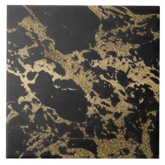 För glittersvart för enorm modern faux guld- kakelplatta