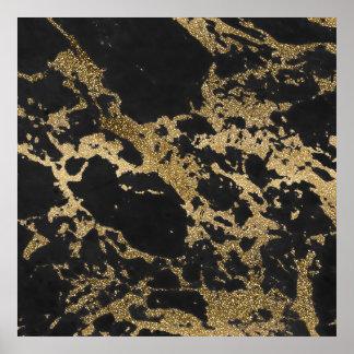 För glittersvart för enorm modern faux guld- poster