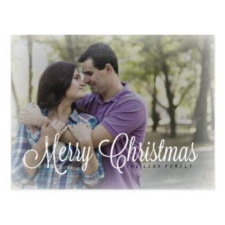 För god julhelgdag för foto frostig vykort