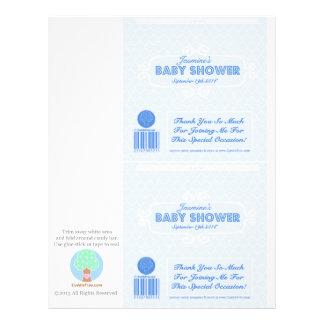 För godispub för baby shower beställnings- blått reklamblad 21,5 x 30 cm