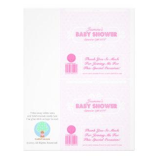 För godispub för baby shower rosa beställnings- reklamblad 21,5 x 30 cm