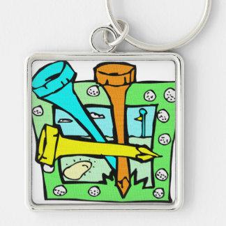 För golfarna fyrkantig silverfärgad nyckelring