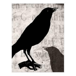 För Goth för vintage korpsvart kråka Collage skräd Vykort