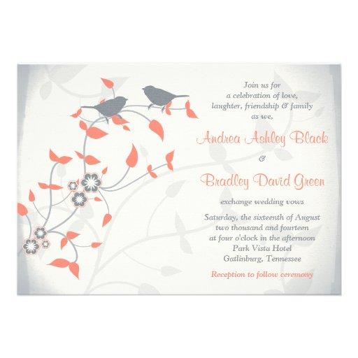 För grå färgfåglar för korall som orange löv gifta anpassade inbjudan