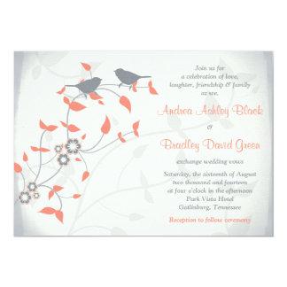 För grå färgfåglar för korall som orange löv gifta 12,7 x 17,8 cm inbjudningskort