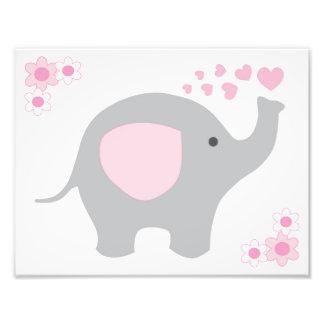 För grå färggrått för elefant rosa konst för vägg fototryck