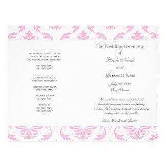 För grå färgvintage för baby rosa bröllopsprogram  flygblad