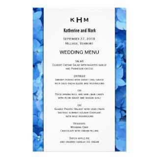 För gränsbröllop för blått blom- mall för meny
