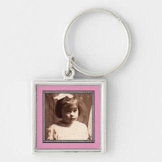 För gränsfoto för Victorian romersk ram Fyrkantig Silverfärgad Nyckelring