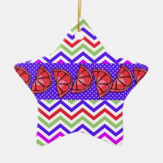 För grapefruktskiva för sommar rolig polka dots julgransprydnad keramik