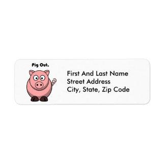 För gris rosa Piggy ut eller Hogtecknad Returadress Etikett