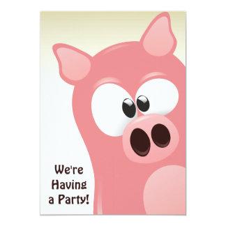 För grisfödelsedag för gullig tecknad rosa 12,7 x 17,8 cm inbjudningskort