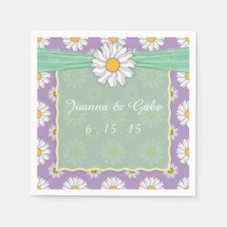 För grön servetter för bröllop vitdaisy för lavend