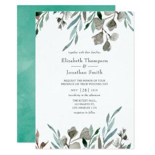 074f47936bde För grönskavinter för vattenfärg lantligt bröllop 12,7 x 17,8 cm  inbjudningskort