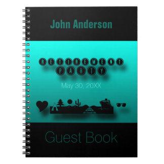 För grönt bok för gäst pensionparty för blått anteckningsbok