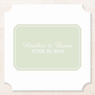 För grönt elegant bröllop enkelt underlägg papper