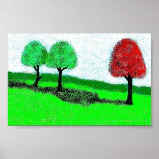 för grönt rött träd poster
