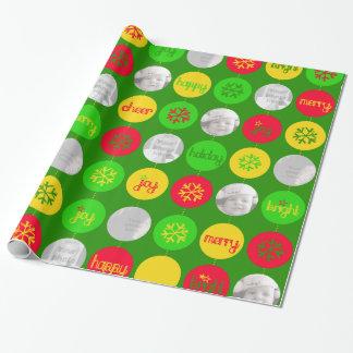 För gröntgult för Bauble rött foto för jul för Presentpapper