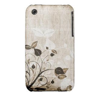 För Grungedesign för vintage blom- fodral för blac iPhone 3 Fodraler
