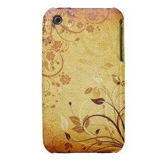 För Grungedesign för vintage blom- fodral för blac Case-Mate iPhone 3 Skydd