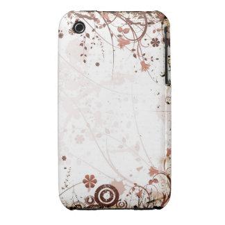 För Grungedesign för vintage blom- fodral för blac iPhone 3 Skydd