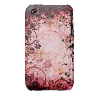För Grungedesign för vintage blom- fodral för blac iPhone 3 Case-Mate Skydd
