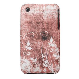 För Grungedesign för vintage blom- fodral för blac iPhone 3 Case