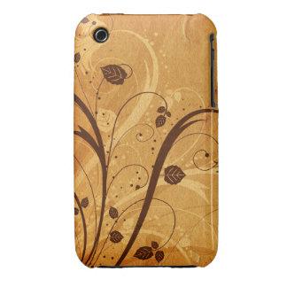 För Grungedesign för vintage blom- fodral för blac iPhone 3 Fodral
