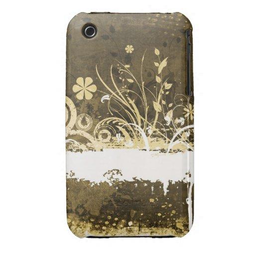 För Grungedesign för vintage blom- fodral för blac iPhone 3 Case-Mate Case