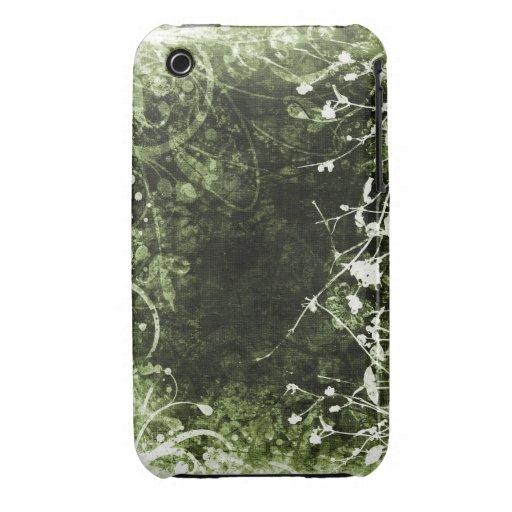 För Grungedesign för vintage blom- fodral för blac iPhone 3 Cases