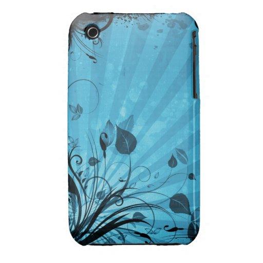 För Grungedesign för vintage blom- fodral för blac Case-Mate iPhone 3 Fodraler