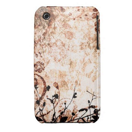 För Grungedesign för vintage blom- fodral för blac iPhone 3 Case-Mate Fodraler