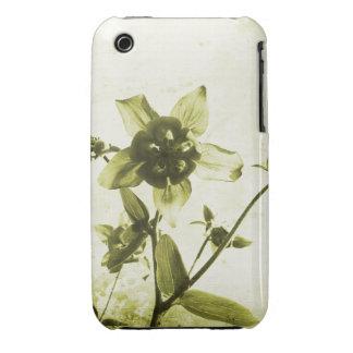 För Grungedesign för vintage blom- fodral för blac iPhone 3 Covers