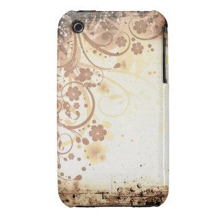 För Grungedesign för vintage blom- fodral för blac iPhone 3 Hud