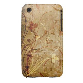 För Grungedesign för vintage blom- fodral för blac Case-Mate iPhone 3 Case