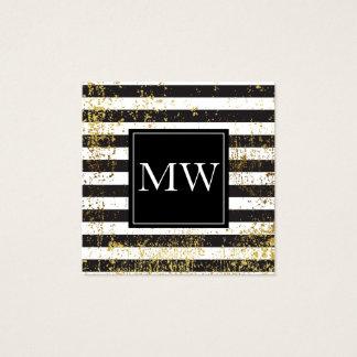 För GrungeMonogram för Lux guld- randar för vit Fyrkantigt Visitkort