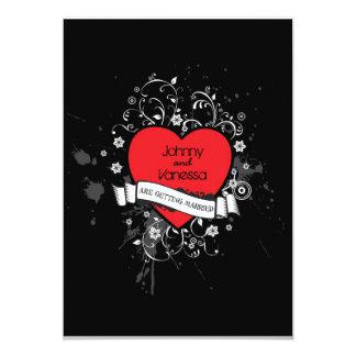 För Grungy Themed bröllop hjärtamusik för sten & 12,7 X 17,8 Cm Inbjudningskort